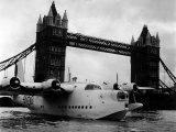 Raf Suderland Flying-Boat Moored Next to Tower Bridge, Thames River, September 1950 Photographic Print