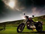 Harley Davidson Motorbike Sitting in Field, June 1998 Photographic Print