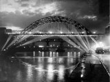 The Tyne Bridge Illuminated at Night circa 1969 Photographic Print