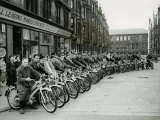 Quickly Club Assembles Outside Andy Mcneil Shop, June 1956 Photographic Print