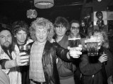 Slade: Dave Hill, Jimmy Lea, Noddy Holder, Don Powell at Launch of Their New Album, March 1985 Fotografisk tryk