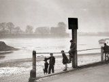 Children Playing on the Banks of the River Thames, Chiswick, London Photographic Print
