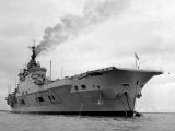 Ships Royal Navy Aircraft Carrier HMS Eagle at Anchor in Plymouth Sound, November 1951 Photographic Print