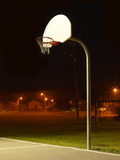 Basketball Net and Court Photographic Print