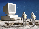 Astronaut Figurines Standing White Computer Photographic Print