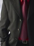 Businessman Wearing Red Shirt and Tie Under Black Suit Photographic Print