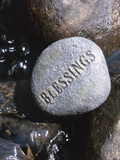 Blessings Written on Rock in Flowing Water Photographic Print