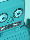 Close-up of Gray Plastic Toy Robot Face Photographic Print