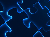 Black Puzzle with Blue Light Shining Through the Cracks Photographic Print
