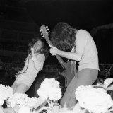 Led Zeppelin Singer Robert Plant in Concert Fotografisk tryk