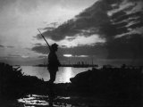 Silhouette of Scottish Sentry Guarding Stores in Salonika During WWI Conflict, February 1917 Photographic Print