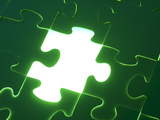 Green Puzzle with Missing Piece Shining with White Light Photographic Print
