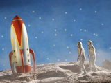 Astronaut Figurines Walking Towards Rocket Photographic Print