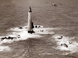 A Trinity House Steamer Waits off the Eddystone Lighthouse to Deliver Christmas Supplies, 1938 Photographie