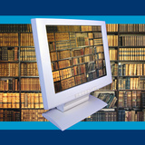 Images of Book Shelves on Computer Screen Photographic Print