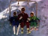Princess Diana with Her Sons Prince William and Prince Harry on a Chair Lift Fotografisk tryk