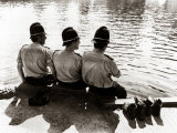 Policemen Sitting by a River on a Hot Sunny Day, July 1976 Reproduction photographique