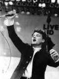 Bono Lead Singer from U2 Performs on Stage at the Biggest Charity Live Event Live Aid Fotografická reprodukce