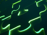 Black Puzzle with Green Light Shining Through the Cracks Photographic Print