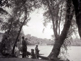 A Family Out in the Countryside, Fishing on the Bank of a Lake 1953 Photographic Print