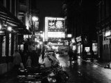 Street Scene at Night in London Around Shaftsbury Avenue Theatre District, February 1987 Photographic Print