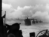 A WW2 Convoy of Steam Supply Ships Sailing Along the English Coast, 1942 Photographic Print