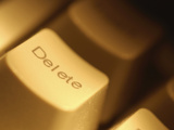 Close-up of White Delete Button on Computer Keyboard Photographic Print