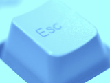 Close-up of Gray Escape Button on Computer Keyboard Photographic Print