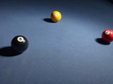 Pool Balls on Blue Felt Pool Table Reprodukcja zdjęcia