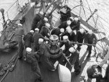 Cadets Raising the Anchor Aboard the Sorlandet in the English Channel, June 1952 Photographic Print