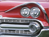 Chrome Lights on Red Car Photographic Print