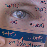 Person&#39;s Face with Superimposition of Backwards Computer Toolbar Photographic Print