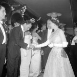 Frank Sinatra, Greeted by the Queen of England at a Premier, October 1958 Photographic Print