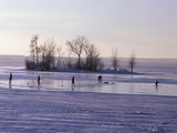 Ice Fishing in Lac St. Louis, Montreal, Quebec Photographic Print