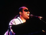 Stevie Wonder in Concert in Glasgow Playing Piano Fotografisk tryk