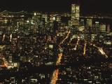 New York City Bustling at Night Photographic Print
