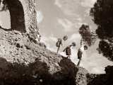 High Adventure: Children Climbing Amongst the Ruins of a Castle, 1950 Photographie