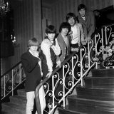 The Rolling Stones are Mick Jagger Brian Jones, Keith Richards Charlie Watts and Bill Wyman Fotografisk tryk