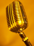 Antique Silver Microphone in Orange Light Photographic Print