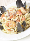 Plate of Seafood Pasta Fotografisk tryk