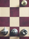 Top of Gold Pawn on Red and Brown Chess Board with Silver Pieces Photographic Print