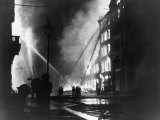 Firemen Using Hoses on the Inferno at Eastcheap London Ec at the Height of the Blitz Photographic Print