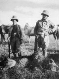 Theodore Roosevelt 26th American President with Hunting Colleague Mr. Tarlton and a Dead Lion Photographic Print by Kermit Roosevelt
