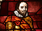 Close-up of Shakespeare in an Illuminated Stained Glass Window Photographic Print