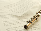 Flute on Top of Sheet Music Photographic Print