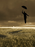 Flying Man with Umbrella Photographic Print