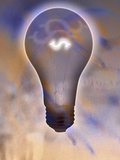 Light Bulb and Dollar Sign Photographic Print