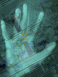Outline of a Human Palm Superimposed on a Computer Chip Photographic Print