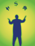 Silhouette of a Man Juggling a Symbol of a House, People and a Dollar Sign Photographic Print