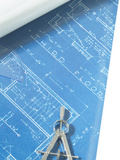 Blueprint with Architectural Tool, Photographic Print